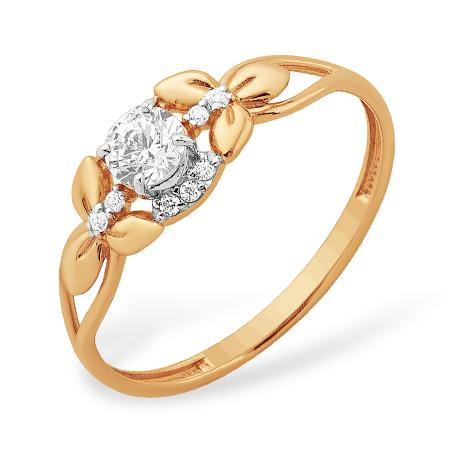 """Кольцо """"лепесток"""" из золота с кристаллом Сваровски и фианитами"""