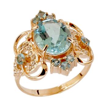 Роскошное кольцо из золота с топазами и фианитами
