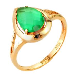Золотое кольцо с зеленым агатом