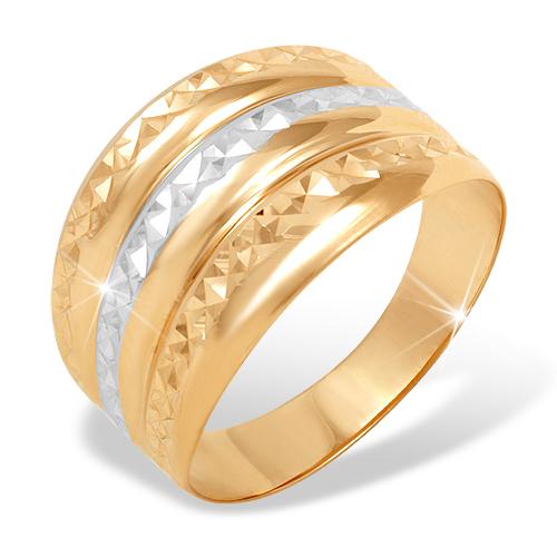 """Золотое кольцо """"чалма"""" с алмазной гранью"""