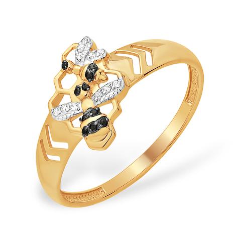 """Золотое кольцо """"две пчёлки"""" с фианитами"""