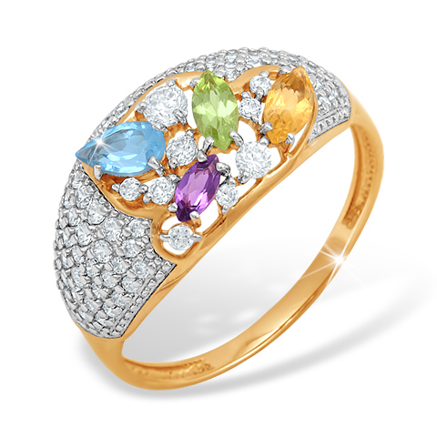 Кольцо из золота с аметистом, хризолитом, топазом, цитрином и фианитами