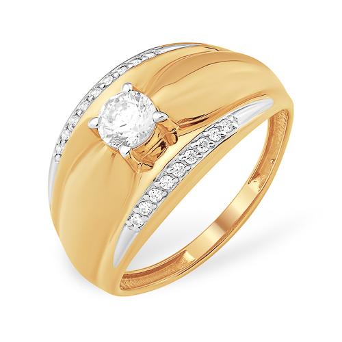 Широкое золотое кольцо с кристаллом Сваровски и фианитами