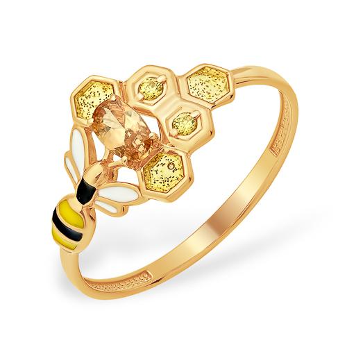 """Кольцо """"пчела"""" из золота с эмалью и фианитом"""