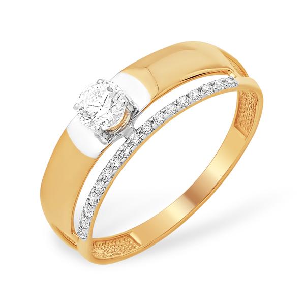 Золотое стильное кольцо с кристаллом Сваровски и фианитами