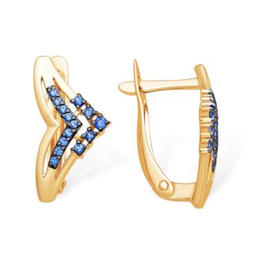 Золотые серьги с синими фианитами