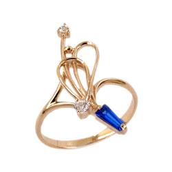 Кольцо из золота с белыми и синим фианитами