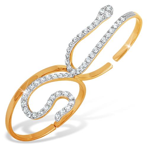 Кольцо на два пальца в виде змеи