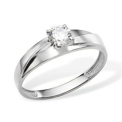 Золотое кольцо из белого золота с фианитом