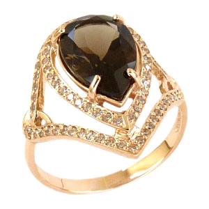 Кольцо из золота 585 пробы с раух-топазом и фианитами