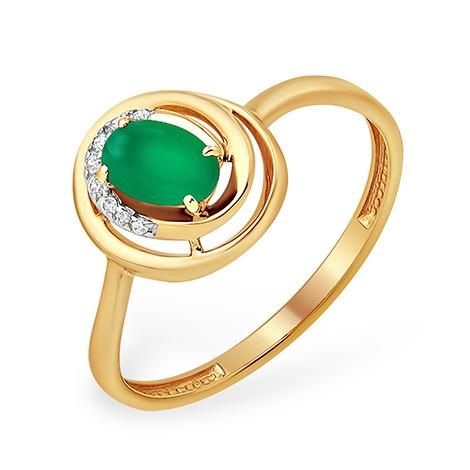 Золотое кольцо с зелёным агатом и фианитами