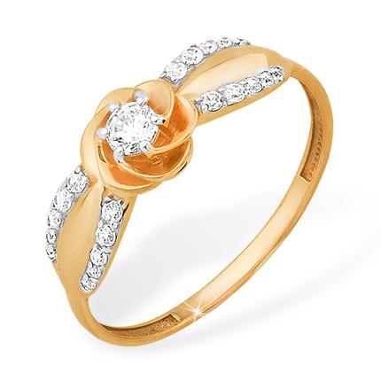 """Золотое кольцо """"цветочек"""" с кристаллом Сваровски и фианитами"""