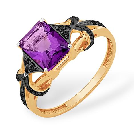 Кольцо с крупным аметистом формы октагон и чёрными фианитами