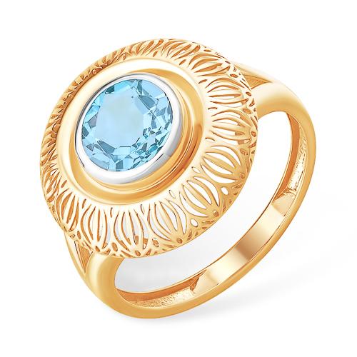 Круглое объёмное золотое кольцо с голубым топазом