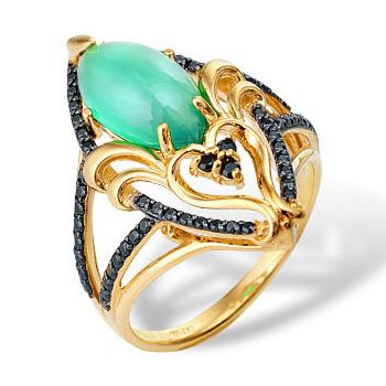 Кольцо из золота с хризопразом и черными фианитами