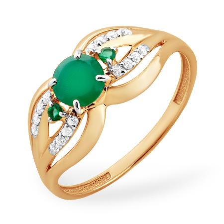 Золотое кольцо с зеленым агатом и фианитами