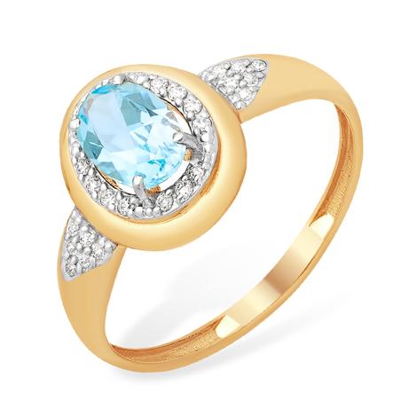 Кольцо из золота с овальным топазом и фианитами