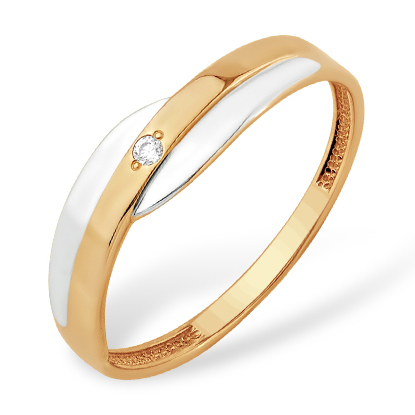 Классическое кольцо из золота с фианитом
