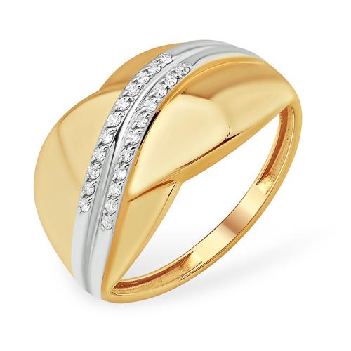 Широкое золоте кольцо с фианитами и родиевым покрытием
