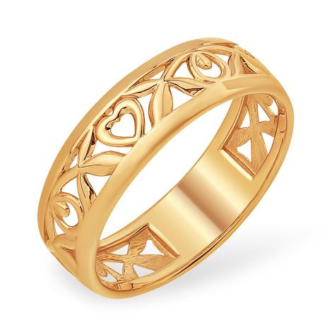 Золотое кольцо с узором и сердцем