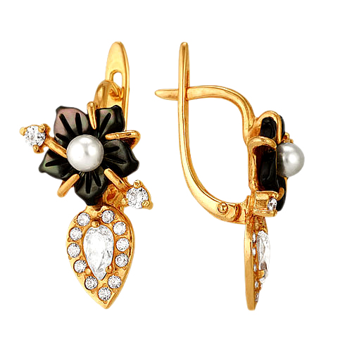 Золотые серьги с черным перламутром в виде цветка, жемчугом и фианитами