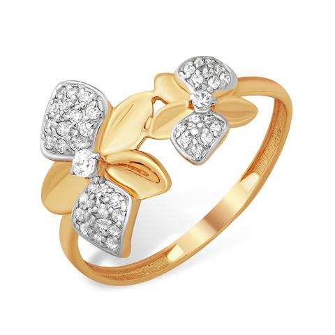 """Кольцо из золота """"два цветка"""""""
