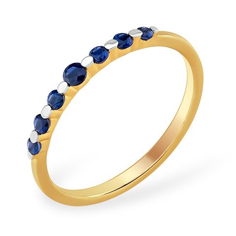 Тонкое золотое кольцо с сапфирами