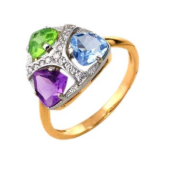 Кольцо из золота с аметистом, хризолитом, топазом и фианитами
