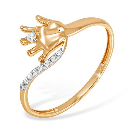 Кольцо-подарок на рождение ребенка из золота с фианитами