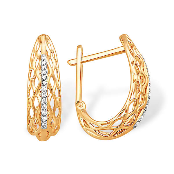 Полукруглые золотые серьги с фианитовой дорожкой