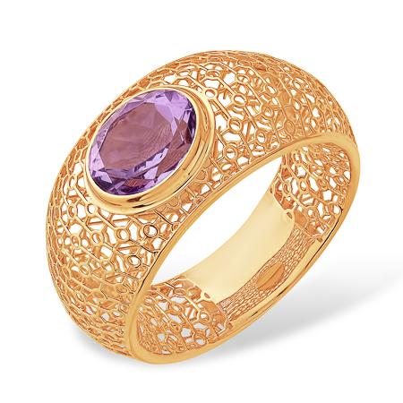 """Широкое кольцо из золота """"паутинка"""" с аметистом"""