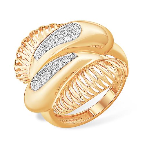 Объёмное и широкое кольцо с фианитами
