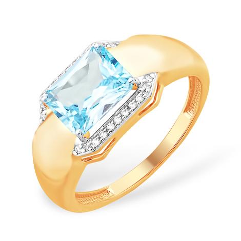 Золотое кольцо с крупным голубым топазом