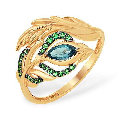 """Золоте кольцо """"перо павлина"""" с лондон топазом и зелёными фианитами"""