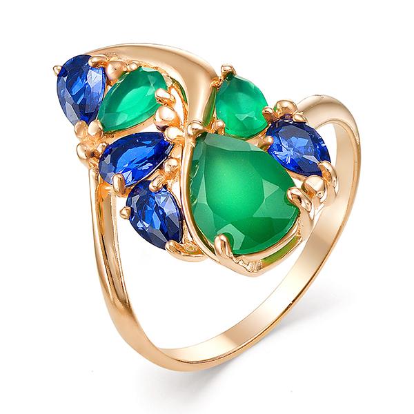 Золотое кольцо оригинальной формы с зелёными агатами и синими фианитами