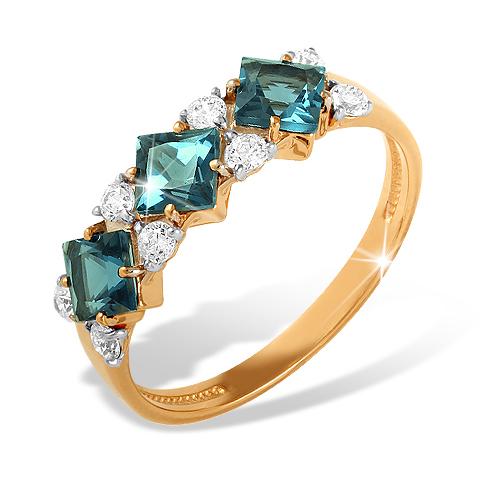 Золотое кольцо с Лондон топазами и фианитами