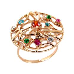 Кольцо из золота с разноцветными фианитами
