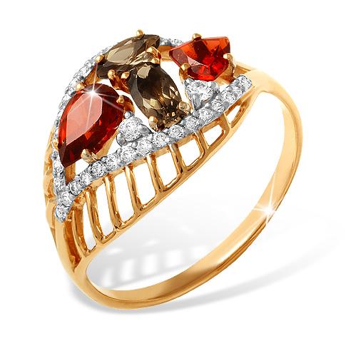 Кольцо из золота с раух-топазами, гранатами и фианитами