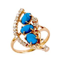 Золотое кольцо с бирюзой и фианитами