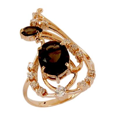Кольцо из золота с раух-топазами и фианитами