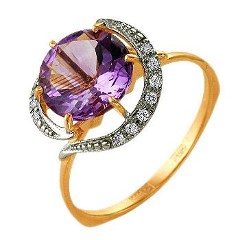Кольцо из золота с крупным аметистом и фианитами