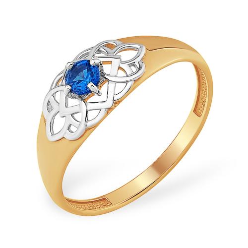Кольцо с ажурным рисунком с синим фианитом