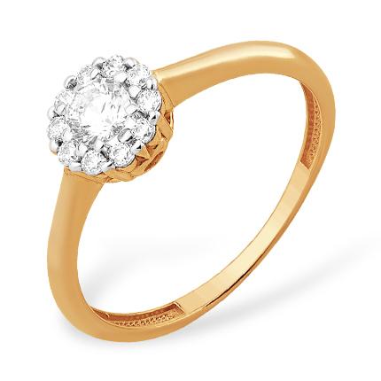Классическое кольцо из золота с кристаллом Swarovski и фианитами