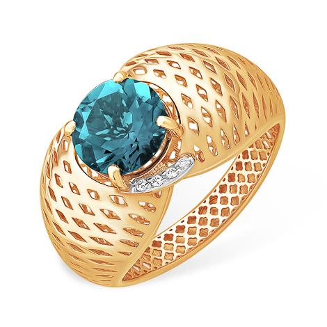 Объёмное широкое золотое кольцо с лондон топазом