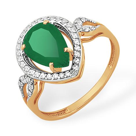 Золотое кольцо с крупным зелёным агатом