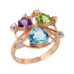 Кольцо из золота с топазом, аметистом, хризолитом и фианитами