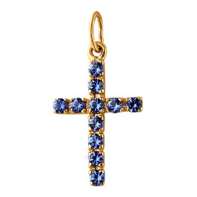 Крест из красного золота с синими фианитами