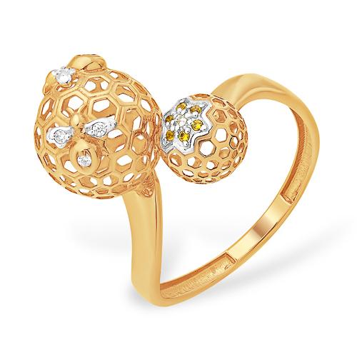 Кольцо в виде шаров с фианитами
