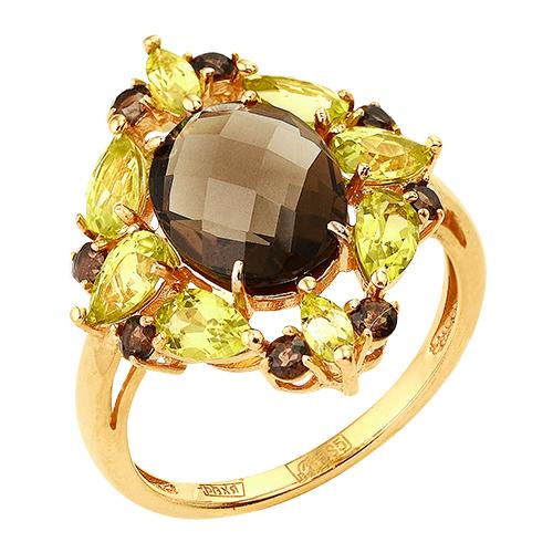 Кольцо из золота с раух-топазами и хризолитами