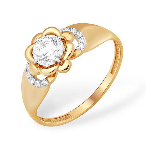 Кольцо из золота в виде цветка с кристаллом Сваровски и фианитами